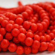 "16"" Semi Precious Gemstone Orange Turquoise Round Beads  4mm, 6mm, 8mm, 10mm"