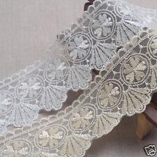 14Yds Embroidery scalloped mesh eyelet lace trim 4.5cm YH1155 laceking2013