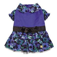 M. Isaac Mizrahi Floral Dot Collection Party Dog Dress Pet Blue Black