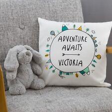 Custom Adventure Name Art Nursery Cushion   New Baby, Birthday, Christening Gift