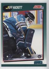 1991 Score Rookie and Traded Box Set Base #92T Jeff Hackett San Jose Sharks Card