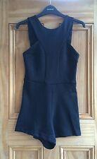 Topshop Brand New Black Sleeveless Lattice Back Playsuit Size 6 - 12 RRP=£34