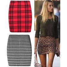 New Ladies Leopard Print Stretch Womens Short Mini Skirts Size 6-16