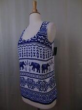 Inc International Concepts Sleeveless Elephant Print Shell Tank Top White & Navy