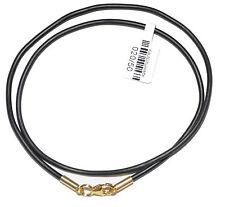 Kautschukband Ø 2 bis 4 mm schwarz Verschluß 925 Silber Vergoldet Kette Halsband