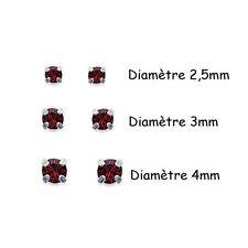 BOUCLES d'OREILLES Diams en ARGENT et CRISTAL Rouge - Diamètre au CHOIX
