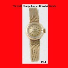Mint 9K Gold Swiss Omega 17J Bracelet Ladies Watch 1965
