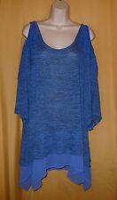 Live Let Live women's royal blue crochet cold shoulder ruffle tunic top 1X 2X