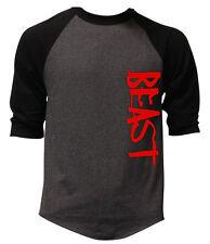 Men's Red Beast Charcoal Baseball Raglan T Shirt Bodybuilding Workout Gym Tee