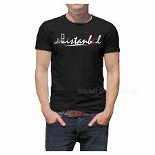 Istanbul Ayyildiz T-Shirt Druck Baumwolle Fruit of The Loom Türkiye Schwarz
