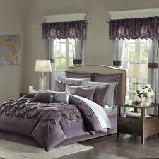 Luxurious Tufted Plum Faux Silk Comforter sheet Window 24 pcs Cal King Queen set