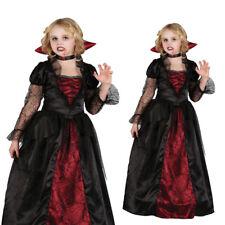 Niñas Niño Deluxe Gótico Vampiresa Fantasía Vestido Niños Halloween Traje De Vampiro