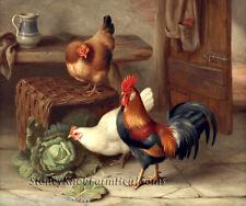 Chickens in the Barn ~ Barnyard, Edgar Hunt ~ Cross Stitch Pattern
