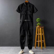 Mens Jumpsuit Trousers Overalls Short Sleeve Korean Summer Leisure Pants Stylish