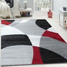 Tapis Design Poils Ras Tapis Moderne Abstrait Demi-Cercles Motif En Rouge Gris