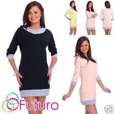 Everyday Mini Dress With Pockets 3/4 Sleeve Shift Dress Tunic Size 8-12 FT1872