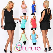 Mini Vestido Túnica Elegante para Mujer Casual de Manga Corta Espalda Abierta Talla 8-12 8052