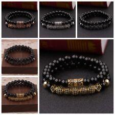 Hot Luxury Micro Pave CZ Ball Crown Charm Bracelets Men Jewelry Matte Agate Bead