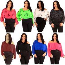 New Womens Plus Size Off Shoulder Kimono Batwing Sleeve Chiffon Gypsy Tops 18-24