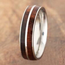 6mm  Koa Wood Ring Top Grade Stainless Steel Barrel Shape Double Row SLR6104