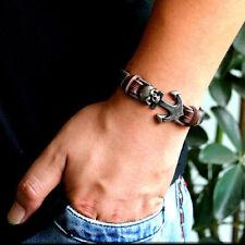 Bracelet for man Genuine Leather Fashion Wristband Anchor Charm Vintage Black