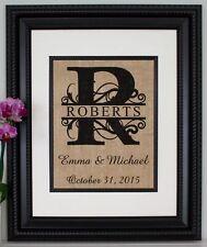 Personalized Burlap Print / Sign - Wedding Monogram - Burlap Wall Art