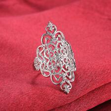 Womens Bling Zircon Rhinestone Geometric Ring Size 7-8 Party Cool Silver Jewelry