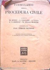 FORMULARIO DELLA PROCEDURA CIVILE Giuffre 1951 Giuridica Manuale Diritto di e