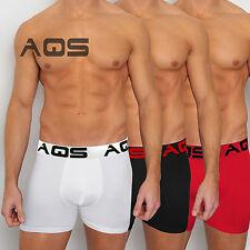 AQS Men's Briefs Boxer Trunks 95% Polyester, 5% Lycra White/Black/Red 3 Pack