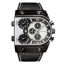 Oulm Fashion Cool Men's Wrist Watch Quartz Multi-Time Zone Analog Leather Band