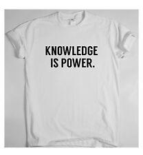 El conocimiento es poder X Motivacional T Shirt formación Sport dinero ricos Tee éxito