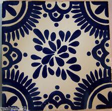 "C278- Mexican Handmade Talavera Clay Tile Folk Art 4x4""  Handpainted"