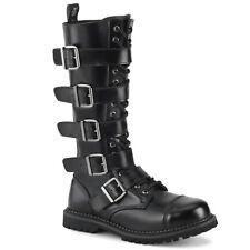 DEMONIA Riot-18BK 18 Eyelet Unisex Steel Toe Knee Boot Closed Toe Knee-High Boot