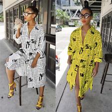 US Women Sexy Long Sleeve V Neck Shirt Dress Newspaper Printed Casual Dress
