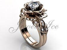 Rose Gold Forever One Moissanite Flower Band Engagement Ring Set ERMZ-1055-3