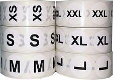 White Circle Clothing Size Stickers, 3/4 Inch Round, 500 Total, Sizes XXS - 5X