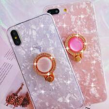 Luxe Diamant Cristal Bling Miroir Coque Téléphone pour iPhone X 7 8 avec Anneau