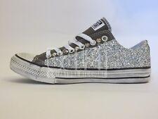 Converse all star OX grigio charcoal glitter argento artigianali