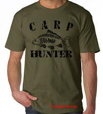 CARP HUNTER , carp crew, carp fishing, OLIVE TSHIRT / BLACK PRINT  S-XXL tee