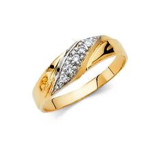 14k Yellow Gold 6 mm Diamond Men's Round Cut Wedding Band Ring