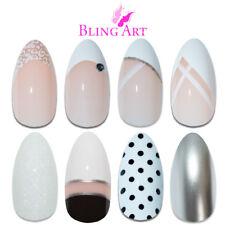 Bling Art Almond False Nails White Fake French Manicure Glitter Medium Tips Glue