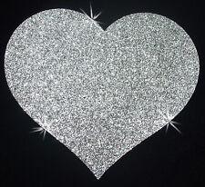 4inch corazón material de tela brillo plateado termoadhesivos de transferencia la camiseta Parche