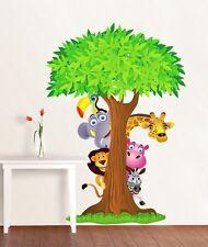 SAFARI ANIMALS TREE Decal Removable WALL STICKER Decor Art Nursery FREE SHIPPING