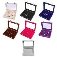 Velvet Glass Earring Ring Jewelry Display Organizer Tray Box Holder Storage Case