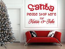 Personalizzata Babbo Natale Stop Qui preventivo, Natale Wall Art ADESIVI, FINESTRE, specchio