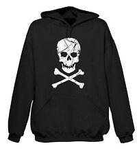 SKULL & CROSSBONES HOODY - Pirate Pirates Fancy Dress Goth T-Shirt - FREE P&P