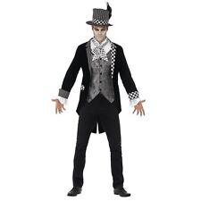 Adult Halloween Mens Dark Mad Hatter Tea Party Fancy Dress Costume Jester Clown