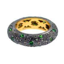 0.84 ct Tsavorite Pave Diamond Band Ring 14kt Gold .925 Sterling Silver Jewelry