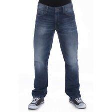 DML Hombre Corte Recto oscuro pantalones vaqueros lavados (Edison) en cintura