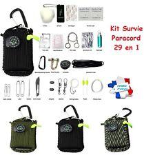 29 en 1 - Kit Survie Paracord Complet avec mousqueton Randonnée Bivouac Camping